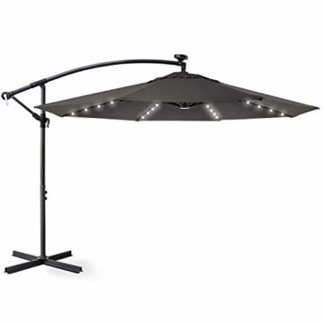 Kesser® Alu Ampelschirm Ø 300 cm LED mit An-/Ausschalter Solarpanel Kurbelvorrichtung UV-Schutz Aluminium Wasserabweisende Bespannung - Sonnenschirm Schirm Gartenschirm Marktschirm Grau - 4