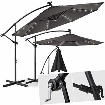 Kesser® Alu Ampelschirm Ø 300 cm LED mit An-/Ausschalter Solarpanel Kurbelvorrichtung UV-Schutz Aluminium Wasserabweisende Bespannung - Sonnenschirm Schirm Gartenschirm Marktschirm Grau - 1