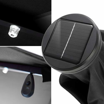 Kesser® Alu Ampelschirm Ø 300 cm LED mit An-/Ausschalter Solarpanel Kurbelvorrichtung UV-Schutz Aluminium Wasserabweisende Bespannung - Sonnenschirm Schirm Gartenschirm Marktschirm Grau - 5