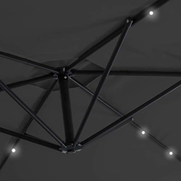 Kesser® Alu Ampelschirm Ø 300 cm LED mit An-/Ausschalter Solarpanel Kurbelvorrichtung UV-Schutz Aluminium Wasserabweisende Bespannung - Sonnenschirm Schirm Gartenschirm Marktschirm Grau - 8