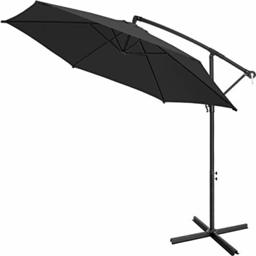 Kesser® Alu Ampelschirm Ø 350 cm mit Kurbelvorrichtung UV-Schutz Aluminium Wasserabweisende Bespannung - Sonnenschirm Schirm Gartenschirm Marktschirm Anthrazit Grau - 2