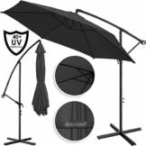 Kesser® Alu Ampelschirm Ø 350 cm mit Kurbelvorrichtung UV-Schutz Aluminium Wasserabweisende Bespannung - Sonnenschirm Schirm Gartenschirm Marktschirm Anthrazit Grau - 1