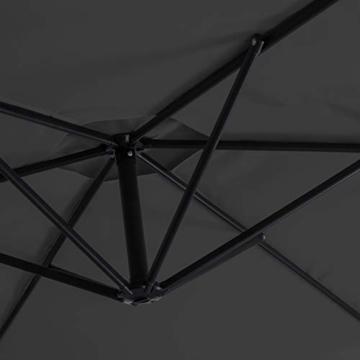 Kesser® Alu Ampelschirm Ø 350 cm mit Kurbelvorrichtung UV-Schutz Aluminium Wasserabweisende Bespannung - Sonnenschirm Schirm Gartenschirm Marktschirm Anthrazit Grau - 5