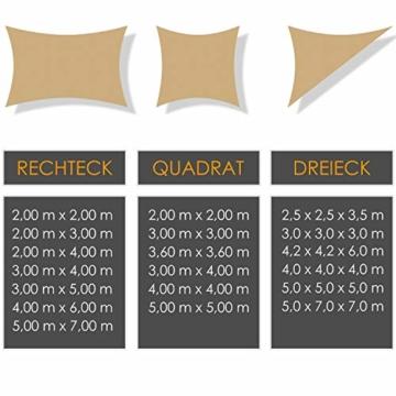 Kesser® Sonnensegel Sonnenschutz Windschutz | HDPE Gewebe | wasserabweisend & windabweisend | Dreieck 5x5x5m | 5-Fach quer vernäht robust & stabil Schattenspender Garten Balkon Terrasse Sand - 5