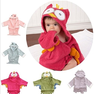 Kinder Bademäntel Baby Cotton Animal Bade Strickjacke Cardigan Nightgown Spa Handtuch Strandtuch (Löwe) (Dinosaur, S) - 2