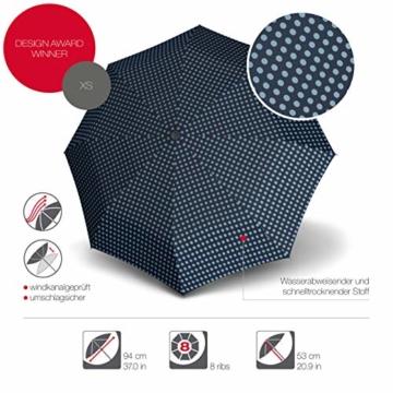 Knirps Taschenschirm X1 Dots – Der kleinste Regenschirm von Knirps – Leicht und sturmfest – Navy Dot - 2
