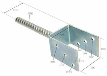 KOTARBAU® U - Pfostenträger 61 mm Alle Größen Lichte Breite 51 mm - 161 mm Riffelstahl Mit Betonanker Feuerverzinkt Steindolle Fest Bodenhülse Anker Stahl - 2