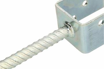 KOTARBAU® U - Pfostenträger 61 mm Alle Größen Lichte Breite 51 mm - 161 mm Riffelstahl Mit Betonanker Feuerverzinkt Steindolle Fest Bodenhülse Anker Stahl - 5