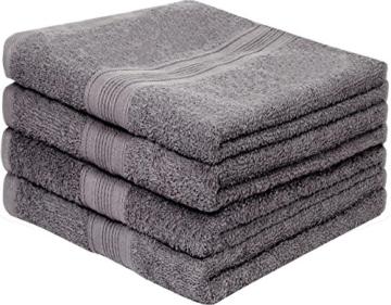 leevitex 4er Pack Frottier Handtücher/Handtuch Set 50 x 100 cm - Qualität 500 g/m² - 100% Baumwolle in viele modernen Farben (Anthrazit/Grau) - 1