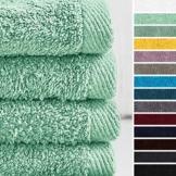 Lumaland Premium 4er Set Handtücher 50 x 100 cm aus 100% Baumwolle 500 g/m² mit Aufhänger eisblau - 1