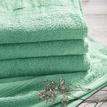 Lumaland Premium 4er Set Handtücher 50 x 100 cm aus 100% Baumwolle 500 g/m² mit Aufhänger eisblau - 5
