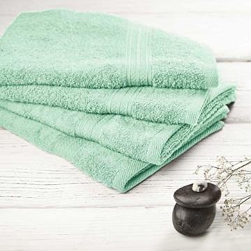 Lumaland Premium 4er Set Handtücher 50 x 100 cm aus 100% Baumwolle 500 g/m² mit Aufhänger eisblau - 6