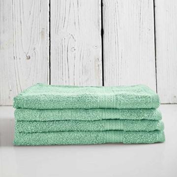 Lumaland Premium 4er Set Handtücher 50 x 100 cm aus 100% Baumwolle 500 g/m² mit Aufhänger eisblau - 7