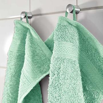 Lumaland Premium 4er Set Handtücher 50 x 100 cm aus 100% Baumwolle 500 g/m² mit Aufhänger eisblau - 8