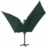 madera Doppelsonnenschirm mit 2 Schirmdächern 300 x 300 cm Grün - 1