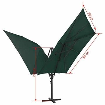 madera Doppelsonnenschirm mit 2 Schirmdächern 300 x 300 cm Grün - 10