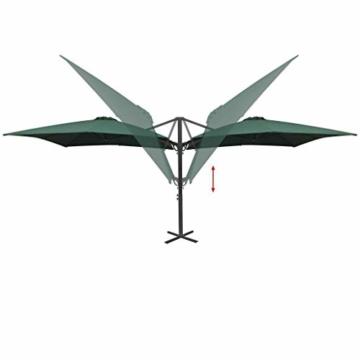 madera Doppelsonnenschirm mit 2 Schirmdächern 300 x 300 cm Grün - 3