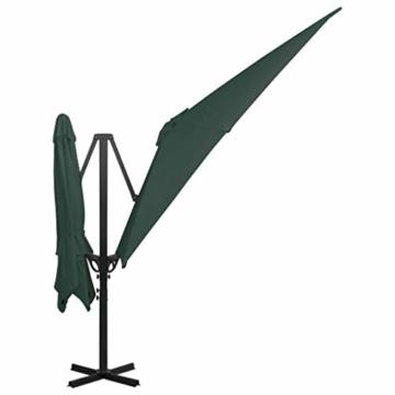 madera Doppelsonnenschirm mit 2 Schirmdächern 300 x 300 cm Grün - 4