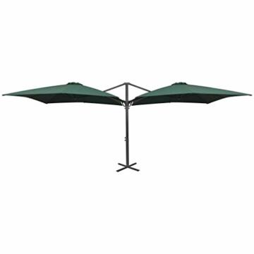 madera Doppelsonnenschirm mit 2 Schirmdächern 300 x 300 cm Grün - 5