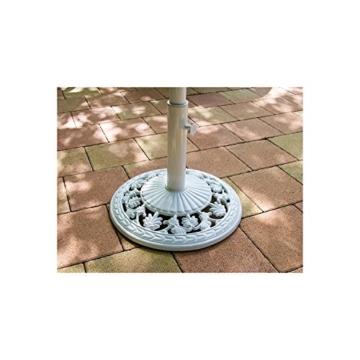 Maxstore Sonnenschirmständer aus Gusseisen rund Weiss, 12 kg, Schirmständer - 7