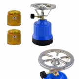 Megaprom E190 Gaskocher mit Kartusche | Campingkocher | Kochplatte mit Kochaufsatz | Camping Kocher Set - inkl. 2X 190g Gaskartuschen - 1
