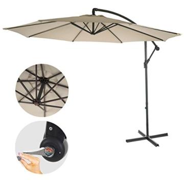 Mendler Ampelschirm Acerra, Sonnenschirm Sonnenschutz, Ø 3m neigbar, Polyester/Stahl 11kg ~ Creme ohne Ständer - 2