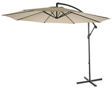 Mendler Ampelschirm Acerra, Sonnenschirm Sonnenschutz, Ø 3m neigbar, Polyester/Stahl 11kg ~ Creme ohne Ständer - 3