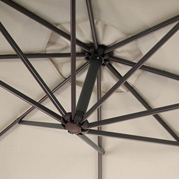 Mendler Ampelschirm Acerra, Sonnenschirm Sonnenschutz, Ø 3m neigbar, Polyester/Stahl 11kg ~ Creme ohne Ständer - 4