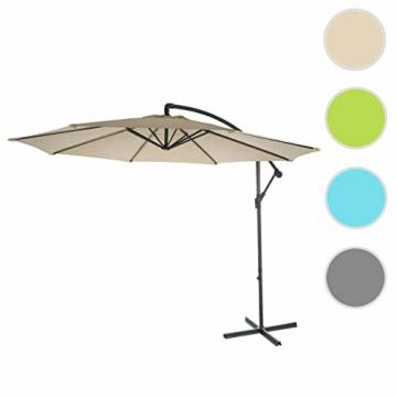 Mendler Ampelschirm Acerra, Sonnenschirm Sonnenschutz, Ø 3m neigbar, Polyester/Stahl 11kg ~ Creme ohne Ständer - 1
