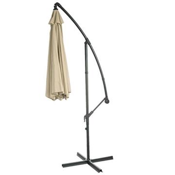Mendler Ampelschirm Acerra, Sonnenschirm Sonnenschutz, Ø 3m neigbar, Polyester/Stahl 11kg ~ Creme ohne Ständer - 7