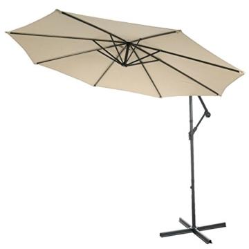 Mendler Ampelschirm Acerra, Sonnenschirm Sonnenschutz, Ø 3m neigbar, Polyester/Stahl 11kg ~ Creme ohne Ständer - 8