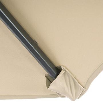 Mendler Ampelschirm Acerra, Sonnenschirm Sonnenschutz, Ø 3m neigbar, Polyester/Stahl 11kg ~ Creme ohne Ständer - 9