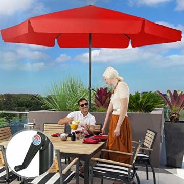 MIADOMODO Sonnenschirm in Ø 2,5m / 3m / 3,5m - in Farbwahl, Wasserabweisender Schirmbezug, mit Krempe und Kurbel, aus Stahlrohr - Marktschirm, Gartenschirm, Terrassenschirm, Ampelschirm (Ø 3 m, Rot) - 2