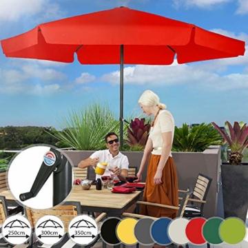 MIADOMODO Sonnenschirm in Ø 2,5m / 3m / 3,5m - in Farbwahl, Wasserabweisender Schirmbezug, mit Krempe und Kurbel, aus Stahlrohr - Marktschirm, Gartenschirm, Terrassenschirm, Ampelschirm (Ø 3 m, Rot) - 1