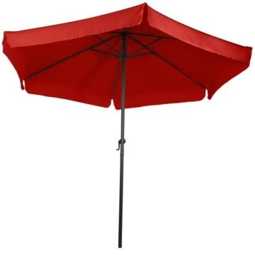 MIADOMODO Sonnenschirm in Ø 2,5m / 3m / 3,5m - in Farbwahl, Wasserabweisender Schirmbezug, mit Krempe und Kurbel, aus Stahlrohr - Marktschirm, Gartenschirm, Terrassenschirm, Ampelschirm (Ø 3 m, Rot) - 6