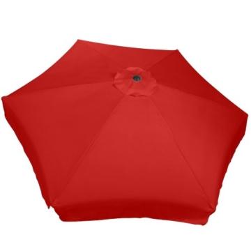 MIADOMODO Sonnenschirm in Ø 2,5m / 3m / 3,5m - in Farbwahl, Wasserabweisender Schirmbezug, mit Krempe und Kurbel, aus Stahlrohr - Marktschirm, Gartenschirm, Terrassenschirm, Ampelschirm (Ø 3 m, Rot) - 7