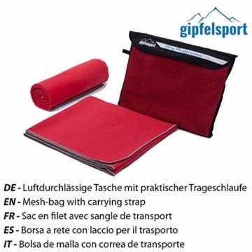 Mikrofaser Handtuch Set - Microfaser Handtücher für Sauna, Fitness, Sport I Strandtuch, Sporthandtuch I Rot | M(110x50cm) - 3