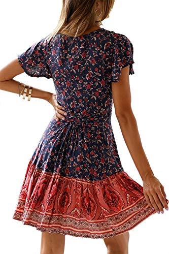 MisShow Damen Kleider mit Blüte Drucken Kurz Sommerkleid Strandkleider Cocktailkleid Gr. S - 2