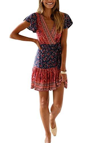 MisShow Damen Kleider mit Blüte Drucken Kurz Sommerkleid Strandkleider Cocktailkleid Gr. S - 3