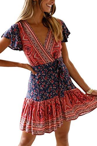 MisShow Damen Kleider mit Blüte Drucken Kurz Sommerkleid Strandkleider Cocktailkleid Gr. S - 4
