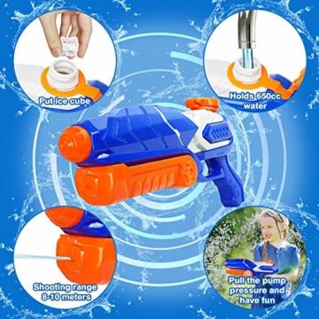 MOZOOSON Wasserpistole Spielzeug für Kinder mit Langer Reichweiter 600ml Freezefire für Kinder Mädchen Junge ab 3 Jahr 10-12 Meter Reichweiter für Eiswürfel Geeignet - 3