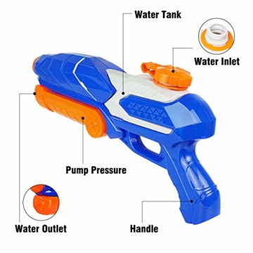 MOZOOSON Wasserpistole Spielzeug für Kinder mit Langer Reichweiter 600ml Freezefire für Kinder Mädchen Junge ab 3 Jahr 10-12 Meter Reichweiter für Eiswürfel Geeignet - 6