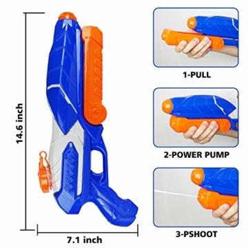 MOZOOSON Wasserpistole Spielzeug für Kinder mit Langer Reichweiter 600ml Freezefire für Kinder Mädchen Junge ab 3 Jahr 10-12 Meter Reichweiter für Eiswürfel Geeignet - 7