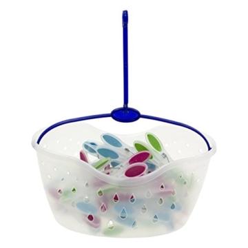 MSV Wäscheklammer Korb Set 24 Stck. mit Soft Grip perfekt zum Einhängen an den Wäscheständer oder die Wäscheleine - 2