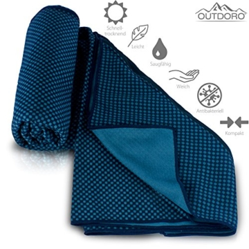 Outdoro Reisehandtuch mit Bambus Kohle Ultra-leicht & saugfähig - komfortabler als Mikrofaser-Handtücher - ideales Sport-Handtuch, Badetuch, Strand-Handtuch, Sauna Towel für Reise & Fitness - 2