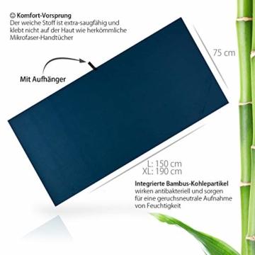 Outdoro Reisehandtuch mit Bambus Kohle Ultra-leicht & saugfähig - komfortabler als Mikrofaser-Handtücher - ideales Sport-Handtuch, Badetuch, Strand-Handtuch, Sauna Towel für Reise & Fitness - 4