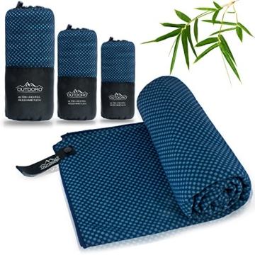Outdoro Reisehandtuch mit Bambus Kohle Ultra-leicht & saugfähig - komfortabler als Mikrofaser-Handtücher - ideales Sport-Handtuch, Badetuch, Strand-Handtuch, Sauna Towel für Reise & Fitness - 1