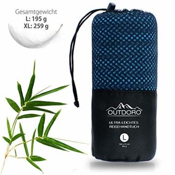 Outdoro Reisehandtuch mit Bambus Kohle Ultra-leicht & saugfähig - komfortabler als Mikrofaser-Handtücher - ideales Sport-Handtuch, Badetuch, Strand-Handtuch, Sauna Towel für Reise & Fitness - 6