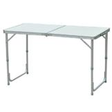 Outsunny Campingtisch Klapptisch Picknicktisch Koffertisch Esstisch höhenverstellbar Alu + MDF Weiß 120 x 60 x 54/70 cm - 1