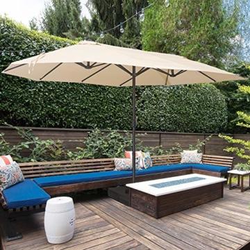 Outsunny Doppelsonnenschirm mit Ständer, Sonnenschirm mit Handkurbel, Gartenschirm, Marktschirm, Stahl, Polyester, Beige, 4,6 x 2,7 x 2,4 m - 2